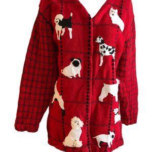 Vintage Susan Bristol M Red Dogs Applique Sweater